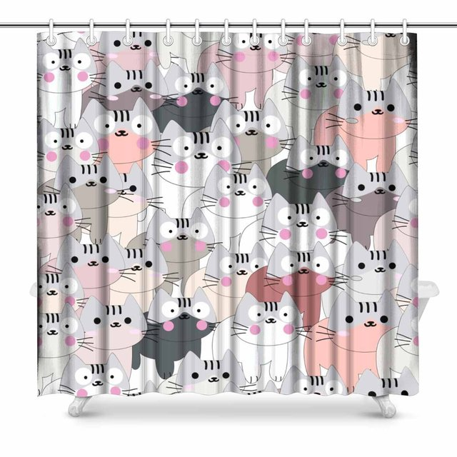 Aplysia Cute Baby Cat Pink Grey PastelLovely Kitty Kitten Cartoon Bathroom Shower Curtain Accessories