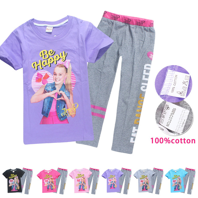02e570df99 US $8.24 25% OFF Summer Jojo Siwa Pure Cotton Children Tracksuits for Girls  Baby Girl Sport Suit Costume Set Tops Pants Bobo Choses Teen Clothes-in ...