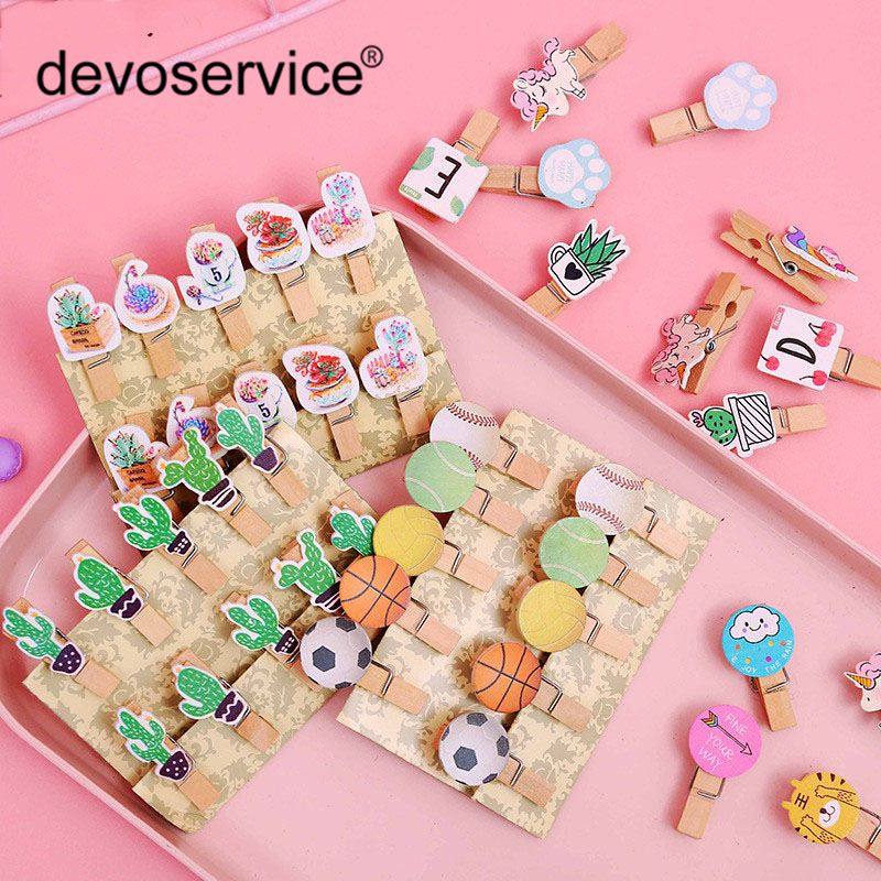10Pcs/Lot Cartoon Colorful Cactus Unicorn Wooden Clips Craft Memo Clip DIY Clothes Paper Photo Decoration School Office Supplies