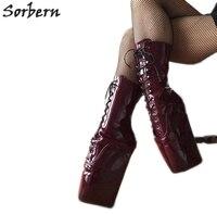 Sorbern цвет красного вина балетки ботинки на танкетке Для женщин Обувь для подиума Для женщин 2019 Bootie каблуки БДСМ начинающих обувь удобные бот