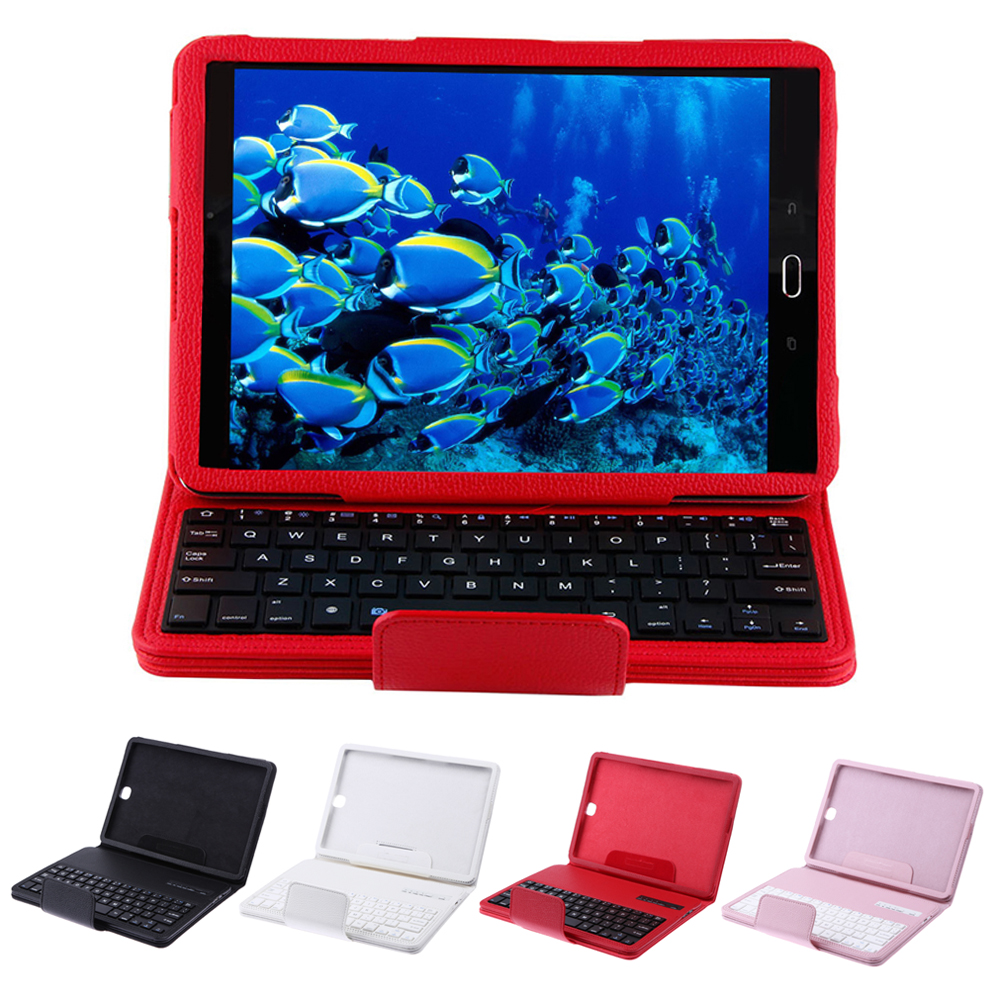 High Quality Detachable Bluetooth Keyboard With Leather Case + Stand for Samsung Galaxy Tab S2 T810/Tab A T550 9.7''