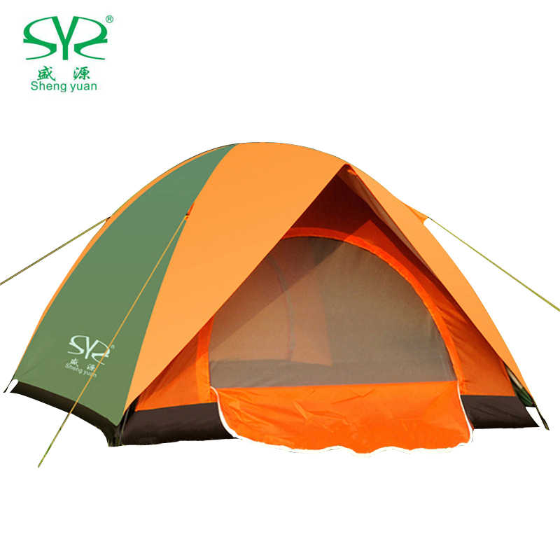 Folding Camping Tent Double Layers Outdoor Fishing Tourist Tent Ultralight 1-2/3-4 Person Beach Tent Anti-UV Sun Shade Tent