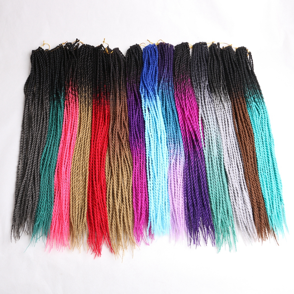 Luxury For Braiding 24 inch Ombre Senegalese Twist Hair Crochet braids Roots/pack Synthetic for Women Grey Pink