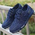 New Men's Canvas Shoes Leisure Flat Shoes Fashion Trend Men Casual Shoes High Quality Breathable Men Canvas Shoes Loafers Blue 8