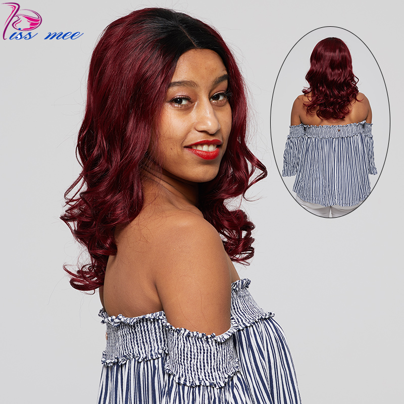 KISSMEE #1B/99J Blonde Ombre Lace Front Human Hair Wig For Black Women Loose Wave Twins Lace Front Wig Remy Hair With Baby Hair