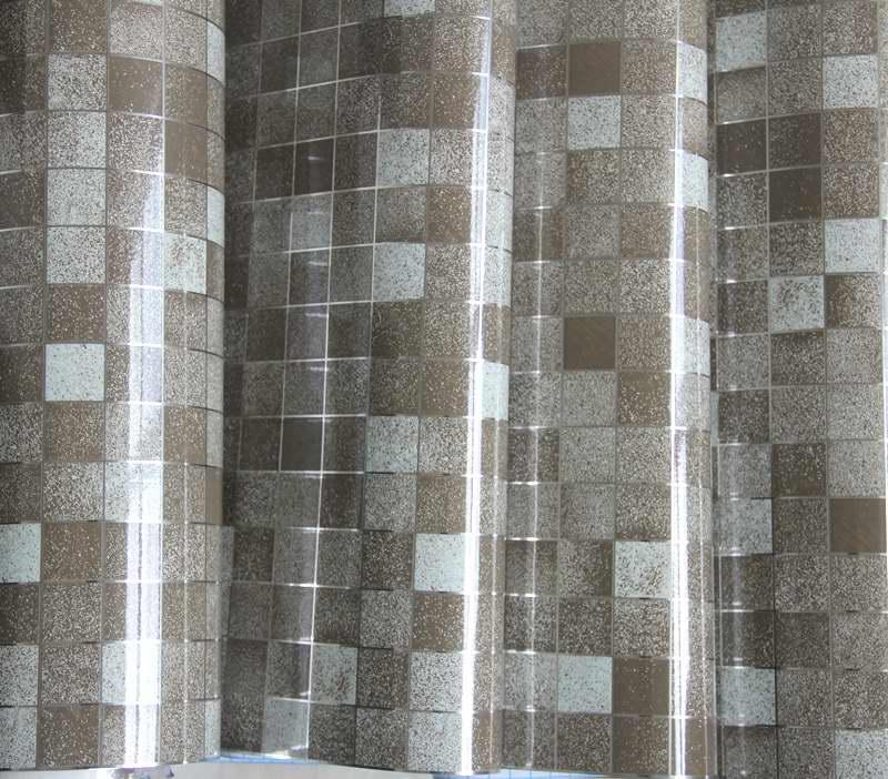 Modern bathroom waterproof mosaic vinyl pvc self adhesive for Silver kitchen wallpaper