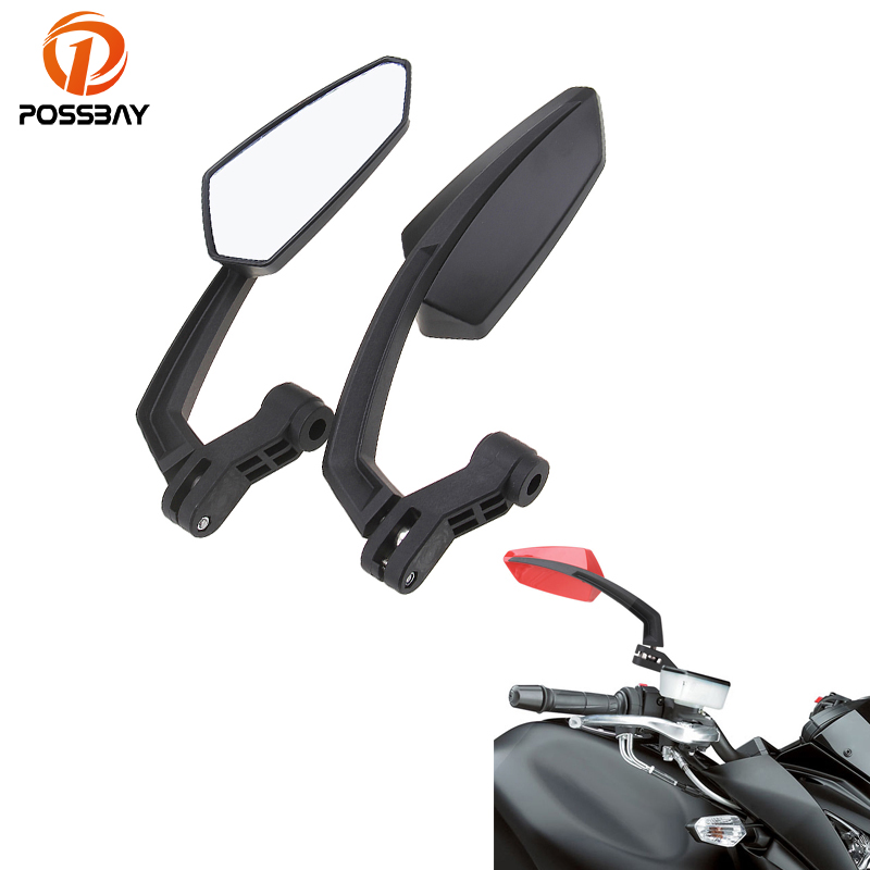 POSSBAY Universal Motorcycle Mirror 8mm 10mm for Harley Suzuki Yamaha Honda dio Kawasaki Cafe Racer Side Rear Rearview Mirrors superfine джинсовые шорты