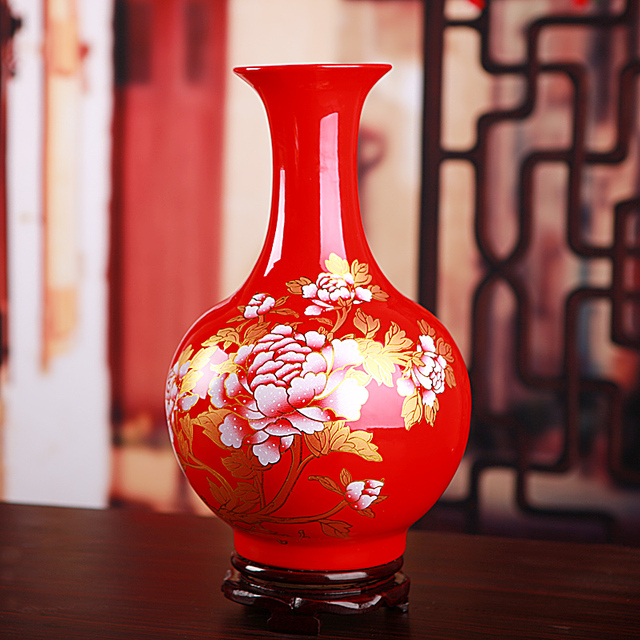 Antique Chinese Red Porcelain Flower Vase For Wedding Decoration Pot