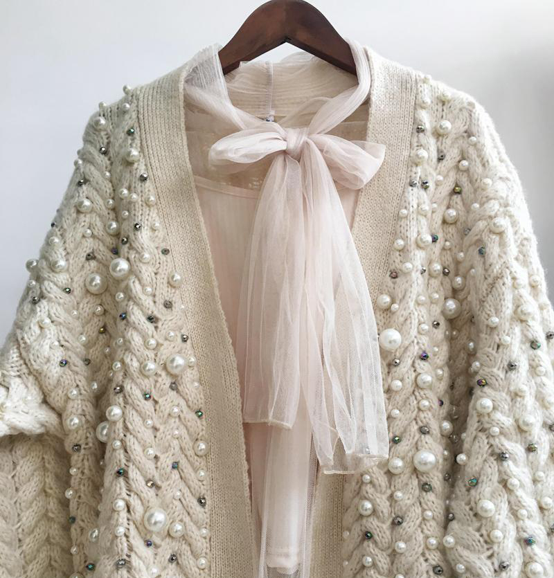 Knitted New Women Wild Cardigan Spring Autumn Fashion Heavy Pearl Beaded Thick Warm Knit Cardigan Coat Women Loose Knit Sweater