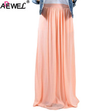 ADEWEL Solid Elastic Waist Pleated Gauze Maxi Skirt with Lining Sexy Summer Women Long Beach Plus Size Tutu