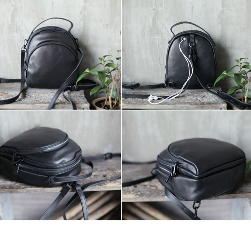AETOO Black top first cowhide backpack geunine leather three-use bag Korean version of soft leather backpack women