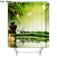 3d Scenery Beach Waterproof Shower Curtain Stone Bamboo Bathroom Products Polyester Fabric Washable Fishing Bath Curtain Hooks