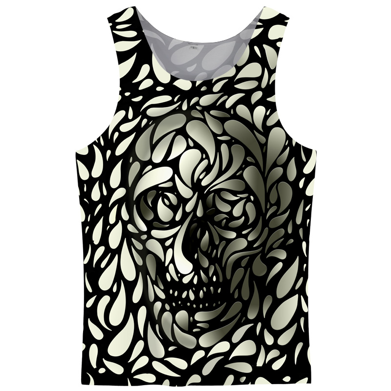 Cloudstyle 2018 3D   Tank     Tops   Men Sleeveless Hot Design Summer Fashion Casual   Tops   3D Skull Print Vest Plus Size 5XL
