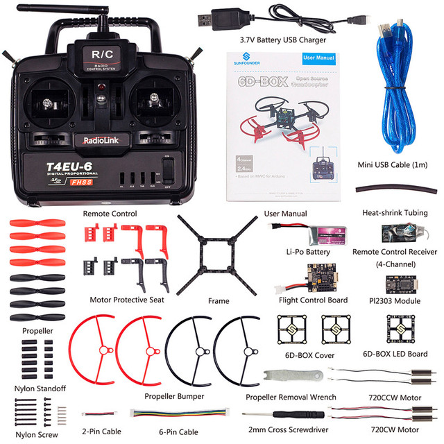 Diy electronics quad drone quadcopter d box mwc multiwii