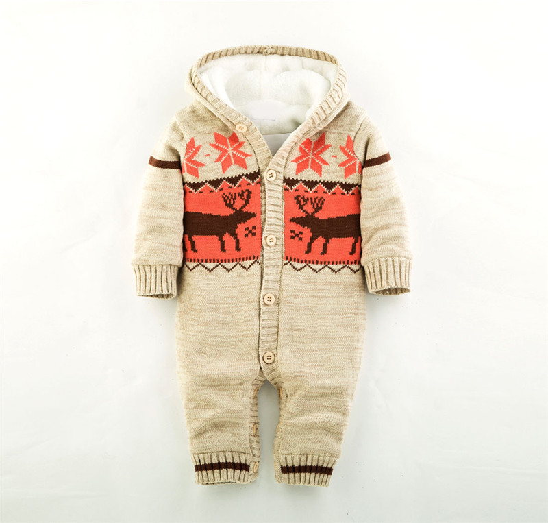 Baby Rompers Winter Thick Climbing Clothes Newborn Boys Girls Warm Romper Knitted Sweater Christmas Deer Hooded Outwear 2017 baby rompers winter thick climbing clothes newborn boys girls warm romper knitted sweater christmas deer hooded outwear