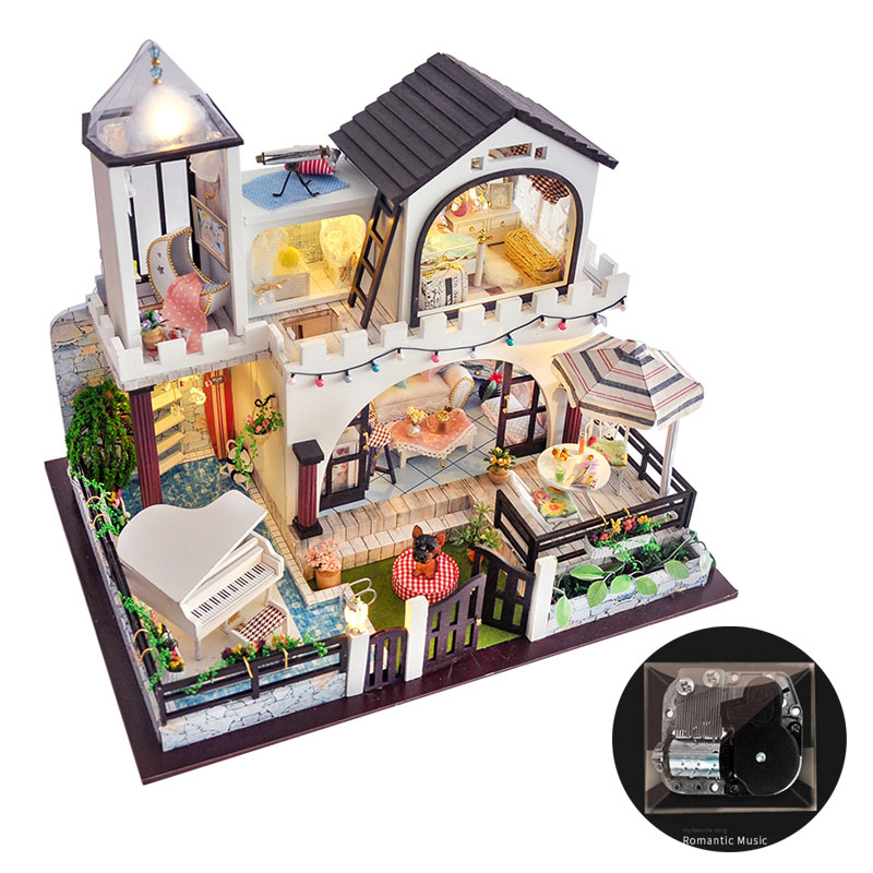 Miniature Fairy Tale Villa Dollhouse Piano Furniture Kits DIY Wooden Dolls House LED Lights Music Box Children Birthday Gift
