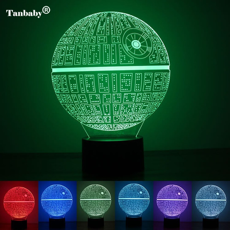 Tanbaby 3D Illusion Night Light 7 Color Changing USB Star Wars Death Star LED Desk Table Lights Lamps For Homes Xmas Decoration