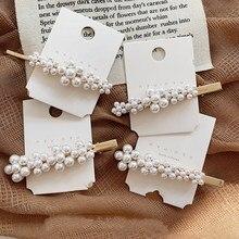 Fashion Women Beautiful pearl flower hairpin Retro word clip bangs Korean net red edge Barrette Girls hair accessories