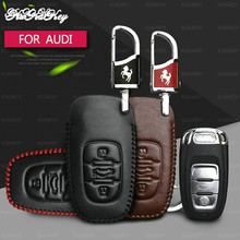 Quality 100% Leather Car Key Case Protection Cover For Audi Q3 Q5 Sline A3 A5 A6 C5 A4 B6 B7 B8 TT 80 S6 C6 Remote Fob Holder usb car front and rear seat fast adapter with extension cord cable for audi a4 a3 q5 q7 a5 b6 b8 a6 c5 b7 c6 a8 tt accessories