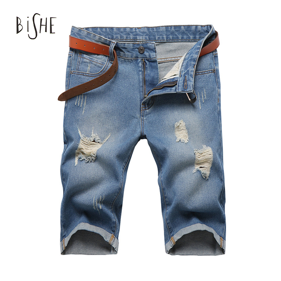ФОТО 2017 Men Shorts new summer Fashion Designers mens denim slim thin jeans shorts Plus Size 33 34 36 knee-length ripped jeans men