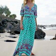 5802b21bc0070 European And American Women Fashion Trend Beach Long Dress Bohemian Style  one-piece Dress Travel Vacation Leisure Sun Dress
