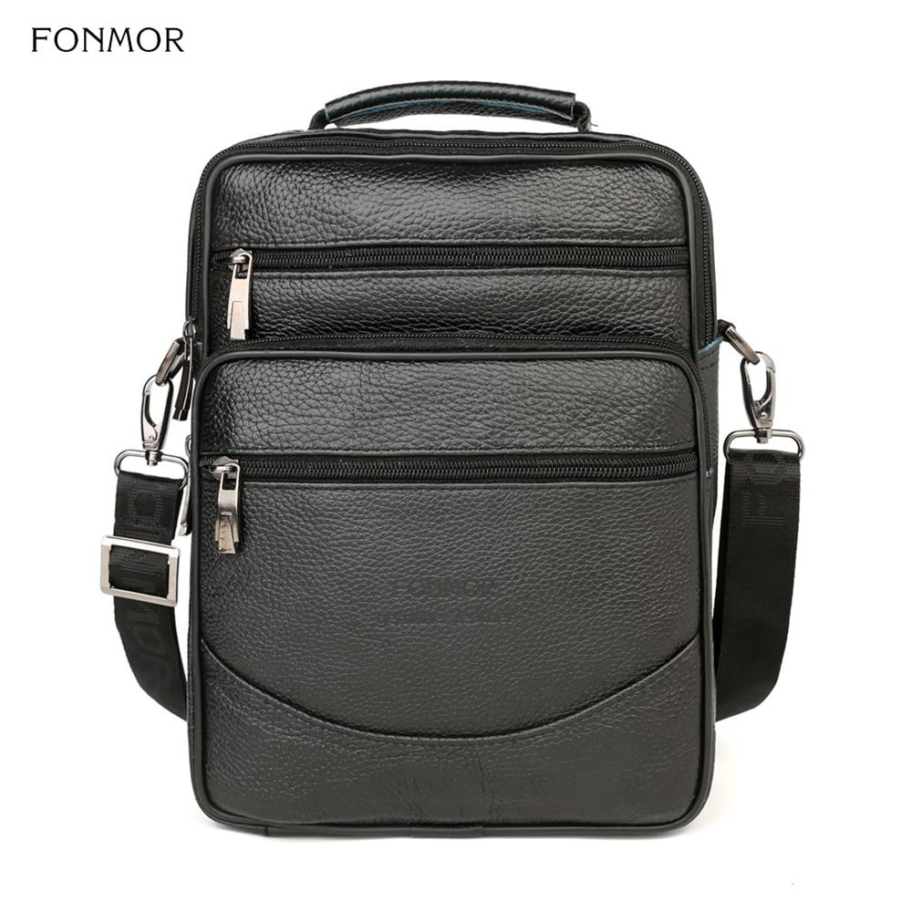 FONMOR New Genuine Leather Briefcase Men Bag Business Handbag Black Shoulder Bags Tote Men Briefcase Multi-layer Messenger Bags
