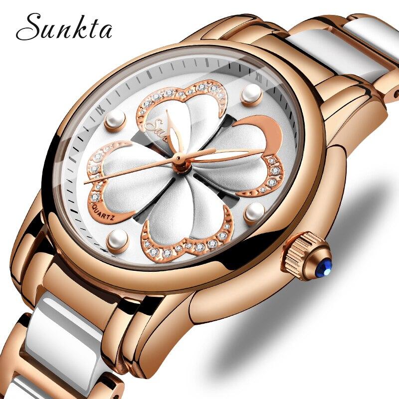 SUNKTA Fashion Simple Rose Gold Ceramic Women Watches Waterproof Ladies Girl Dress Bracelet Quartz Watch Women Relogio Feminino