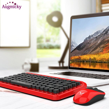 Newest Vintage punk Gaming Keyboard Mouse Combo 2.4GHz 84 Keys Mechanical Feel Mute with 4 1600 DPI Optical