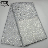 H&Q White Color Stylish Style African Lace Fabric 5 Yards/lot,African Organza Lace Fabric With Sequins For Sewing Dress/Garment