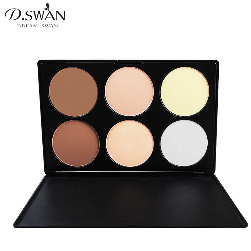 6 Color Pressed Powder Face <font><b>Contour</b></font> Palette Highlight and <font><b>Contour</b></font> Matte Bronzer Mineral Foundation Camouflage Makeup Kit