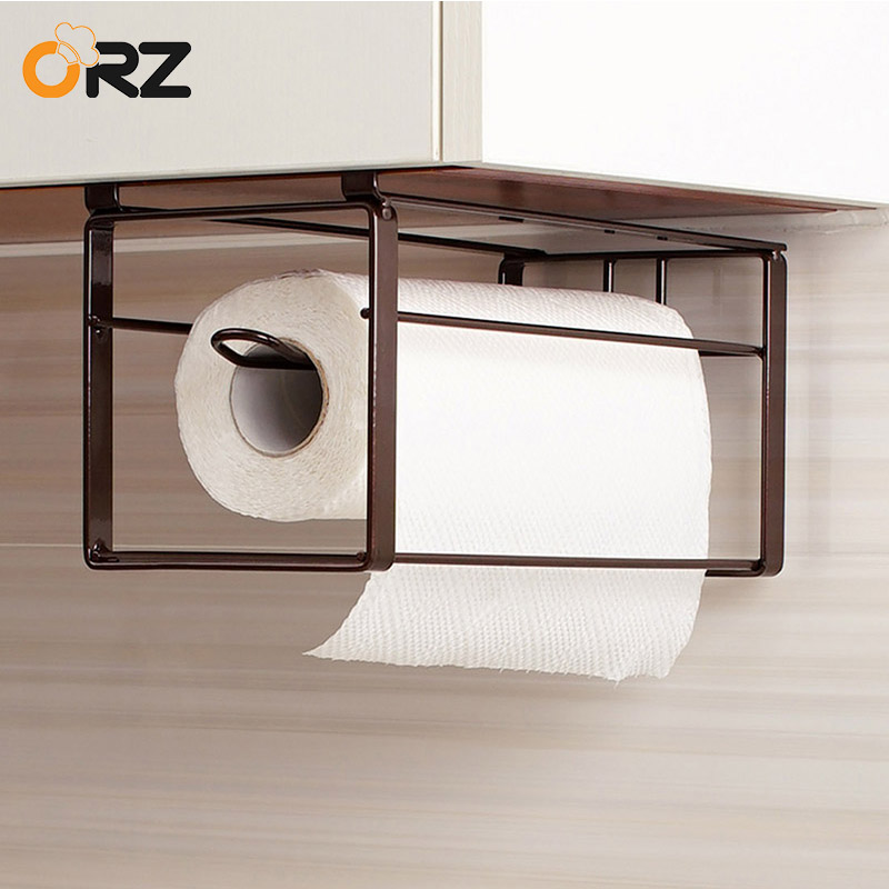 ORZ Kitchen Roll Paper Holder Bathroom Hanging Towel Rack Tissue Rack Storage Shelf Kitchen Cabinet Storage Organizer Holder