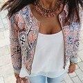 Весна Осень Женщины Куртка Короткий Параграф Vintage Печатных Куртки Женщины Моды Простая Застежка-Молния Пальто 63