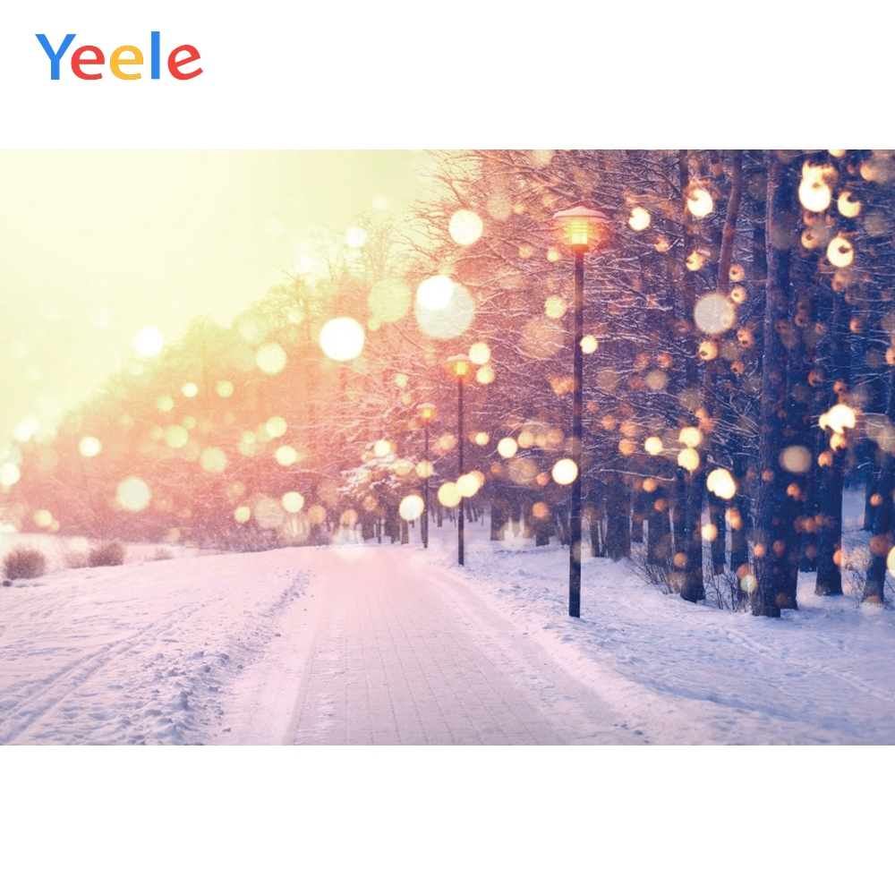 Yeele Winter Landscape Bokeh Lights Decor Paintings Photography Backdrops Personalized Photographic Backgrounds For Photo Studio