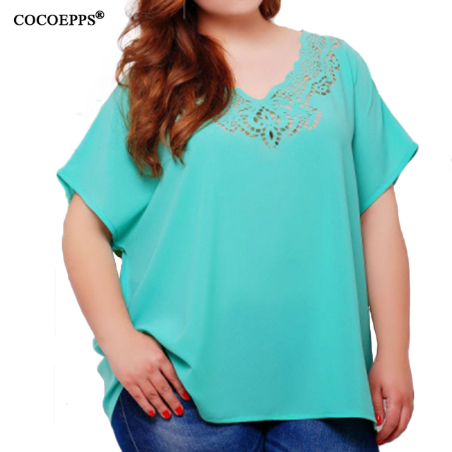 1081d00cee 4XL 5XL 6XL loose Casual Chiffon Tops Women T-shirts V-neck Plus size Tees  2018 Summer Solid clothing Big Large Size red T-Shirt