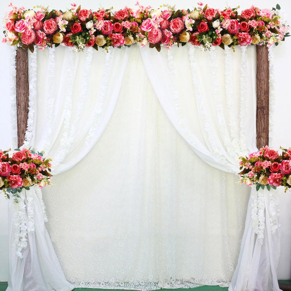 Us 2053 49 Offqf Flower Wall Wedding Silk Artificial Flowers Row For Wedding Backdrop Curtain Party Backdrop Decor Wedding Tent Backdrop Stand In