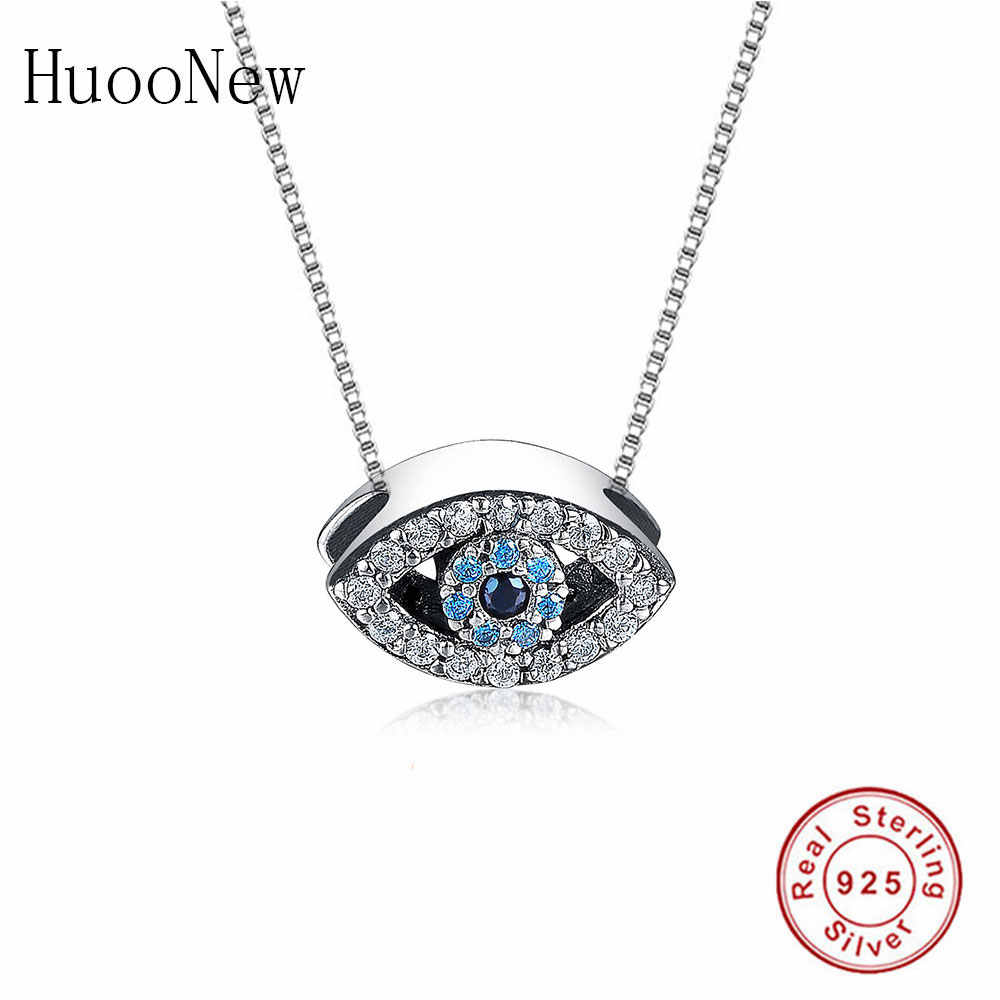 925 Sterling Silver Animal Turkish Evil Eye Blue Clear Zirconia Stone Pendant Necklace Women Girl Choker Student Trinket Fashion