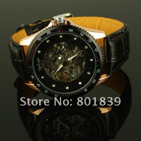 Automatic / Wind Up Skeleton Black Leather Mechanical Mens Wrist Watch Nice Xmas Gift Wholesale Price A418