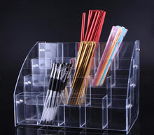 Clear acrylic Cosmetic Brush Eyeshadow Pencil Pen Lipstick Display Stand Rack Support Organizer Holder For Desk Office Supplies(China)