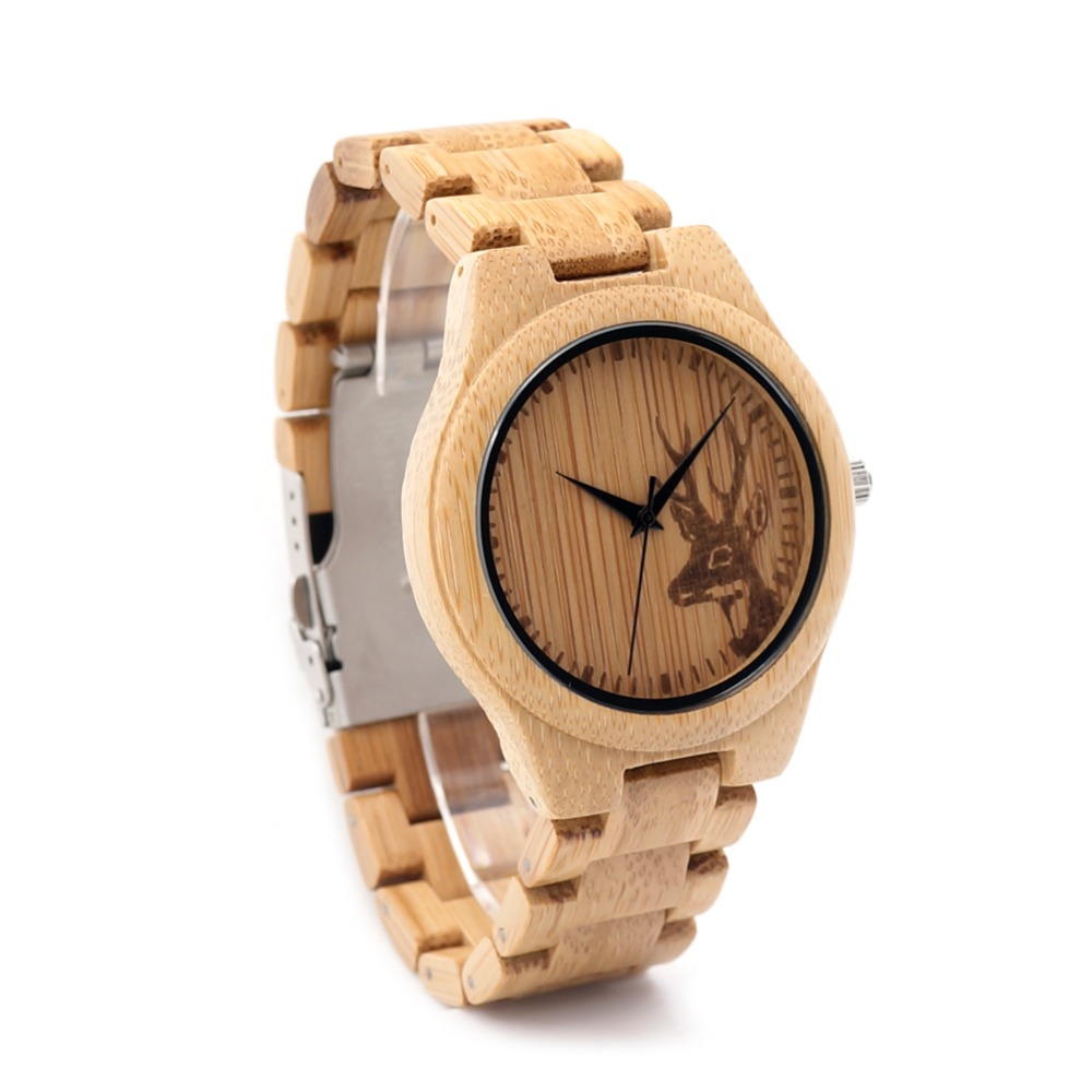 Hot Selling Janpese Movement Full Bamboo Wooden Watch for Men Deer Designer Brand Quartz Wrist Watches in Gift Box bobobird limited edition bamboo wooden watches men s luxury brand designer watch leather band quartz watches for men in gift box