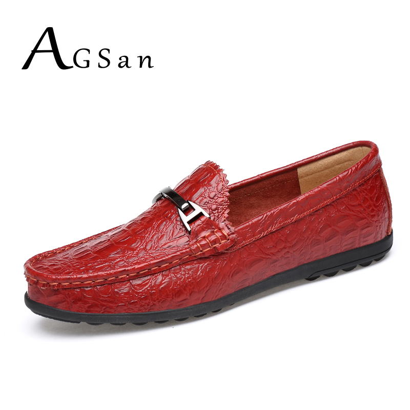 где купить AGSan men crocodile loafer shoes genuine leather driving shoes plus size 10.5 10 9.5 46 45 mens blue red black moccasins loafers по лучшей цене