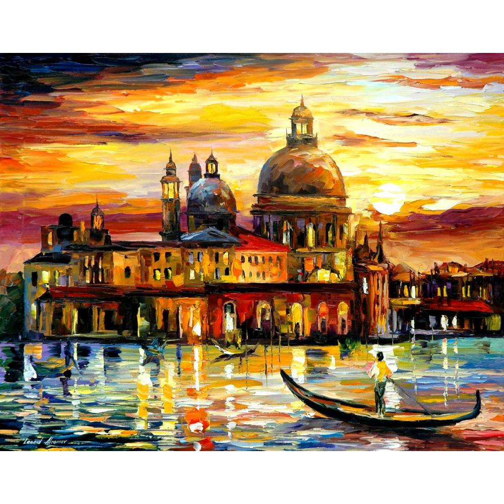 Contemporary art the golden skies of venice knife oil painting canvas beautiful landscape pictures for wall decorContemporary art the golden skies of venice knife oil painting canvas beautiful landscape pictures for wall decor