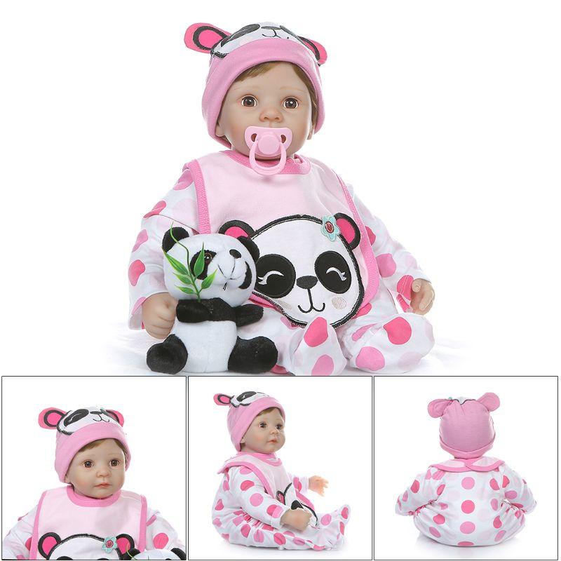 55cm Realistic Soft Silicone Vinyl Newborn Babies Girl Panda Lifelike Handmade Toy Children Birthday Gift Reborn Doll in Dolls from Toys Hobbies