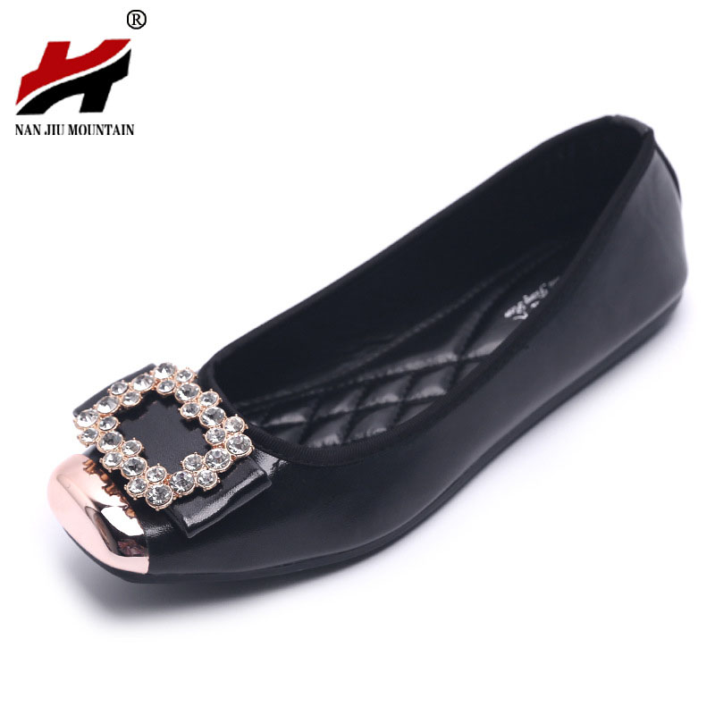 Elegant Square Rhinestone Soft Leather Women Flats Brand Shoes Woman Boat Shoes Casual Ladies Flats Plus Size 42 Free Shipping smart home eu standard 1 gang 2 way light wall touch switch crystal glass panel waterproof and fireproof
