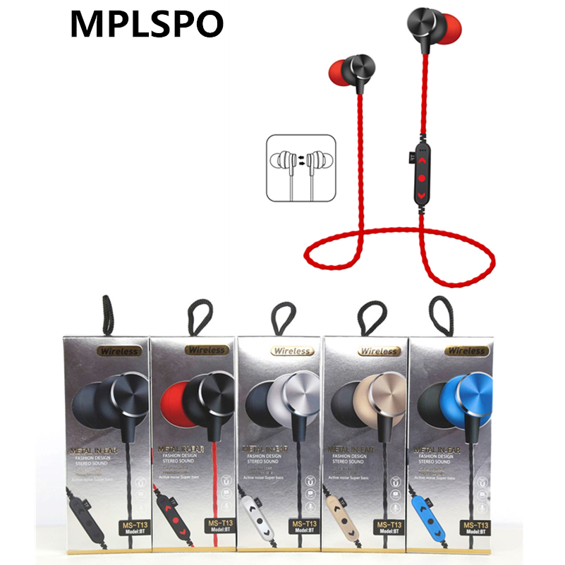 цены MPLSBO TF card slot MP3 Bluetooth Earphone Wireless Stereo Music Sports Earphone In-Ear Headset Noise Reduction With Mic Casque