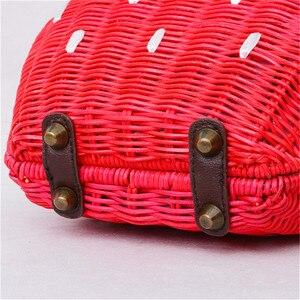 Image 3 - 新しいわらバッグ籐バッグ牧歌織ファッションハンドバッグフルーツイチゴの漫画のメッセンジャーバッグ