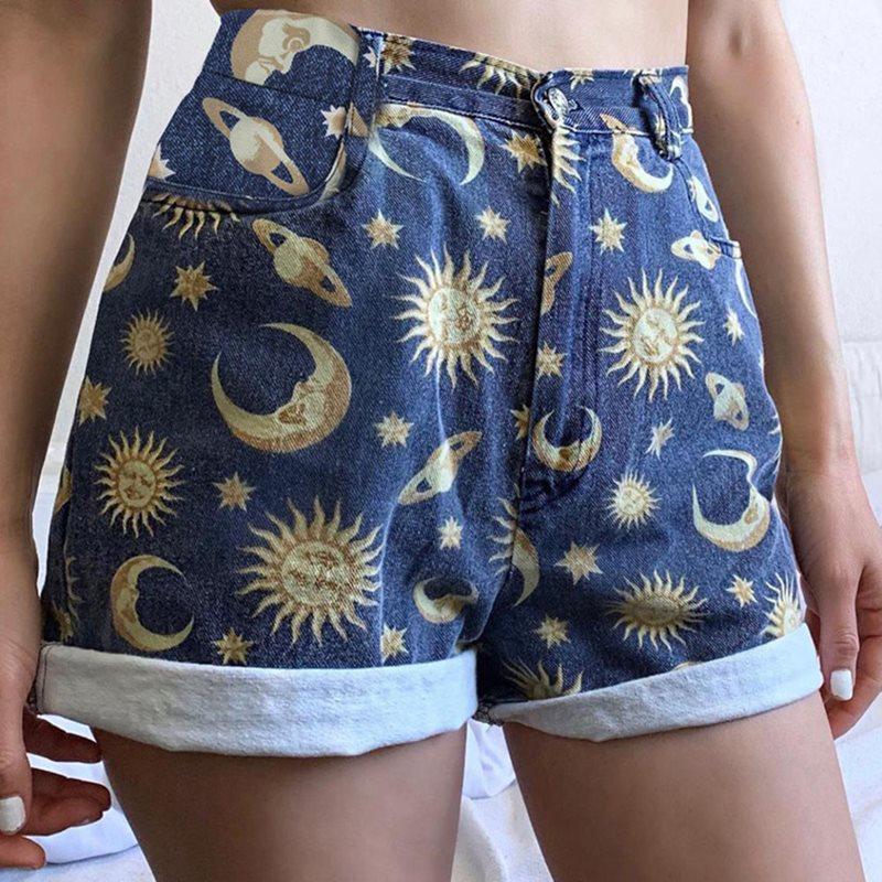 Gothic Summer Cute Blue Simple High Waist Women   Shorts   Casual Slim Thin Straight Zipper Print Office Lady Female Fashion   Shorts
