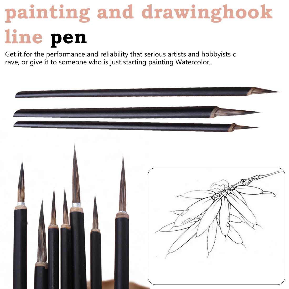3pcs Copper Head Hook Line Fine Paint Brush Calligraphy Brush Pen Paint Brush Oil Painting Brush