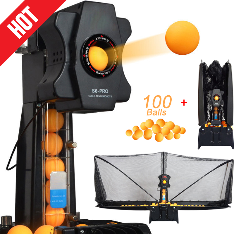Professional S6 PRO Table Tennis Robots Sender Pitching Serve Machine Trainer Racquet Sports Collecting Net 100 Ping Pong Balls