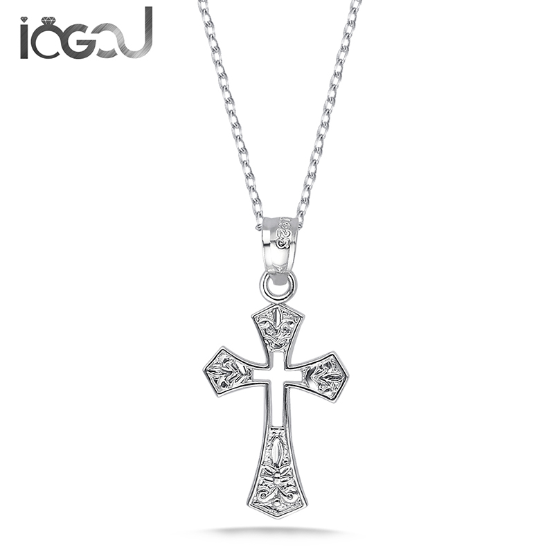 IOGOU 925 Sterling Silver Big Hollow Cross Pendants Men Hip Hop Anniversary For Necklace Male Party Jewelry Gift