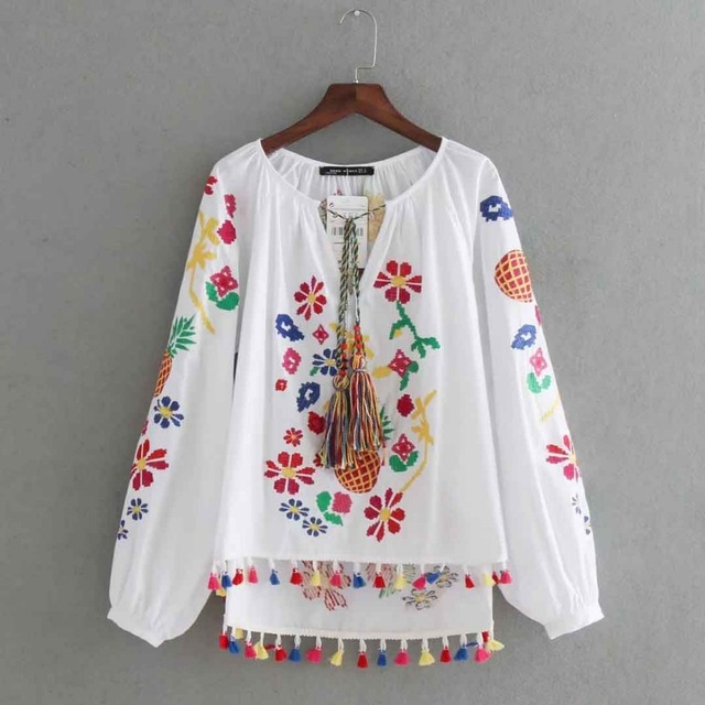 8a9ded6a371 Vintage Embroidery Shirts Women Tunic Summer Clothing Loose Long Sleeve  Lace-up Fringes White Cotton Ethnic Blouse Shirt Blusas